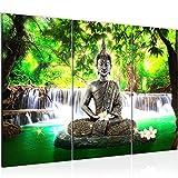 Runa Art Bouddha Cascade Peinture Tableau Salon XXL Vert Feng Shui 120 x 80 cm 3 Parties Decoracion Murale 503531a