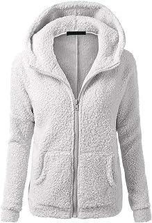 Jacket Women Elegant Sweatshirt Women Soft Fluffy Fleece Hooded Warm Long Sleeve Oversize Solid Color Zip Pockets Cardigan...