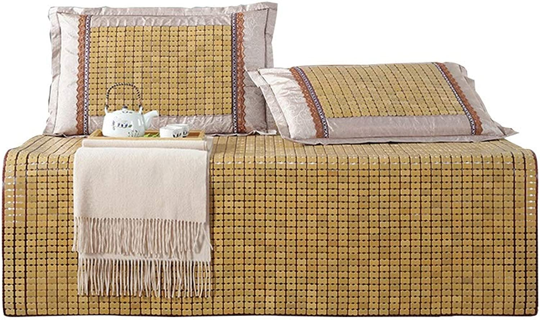 AGLZWY Faltbare Matratze Sommer Schlafmatte Mahjong Bambusmatte Carbonisiert Glatt Kühlen Atmungsaktiv Schlafzimmer Doppelbett Wohnheim ,4 Gren (Farbe   Beige, Größe   180x200cm)