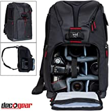 Deco Gear DSLR Camera Backpack, Customizable Compartments for Cameras, Lenses, Accessories & 15'' Laptop, Weather Protective, Perfect for Canon Nikon & Sony Photographers (Turns Into Sling Bag)