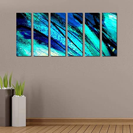 999Store Multiple Wooden Framed Printed Abstract Green Blue Art Panels Wall Painting- 6 Frames