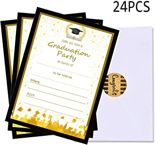 24 PCS Graduation Party Invitations Cards with Envelopes 2019 Party Supplies Grad Congrats Announcements