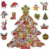 BESTZY 100PCS Natale Bottoni per Bambini Bottoni Natalizi Decorativi Bottoni in Legno per Maglieria Cucito Cucito a Mano Fai-da-Te