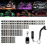 XTAUTO 12Pcs Motorcycle 120 LED Light Kit Strips Multi-Color RGB Underglow Underbody Neon Ground Effect Atmosphere Lights Lamp with Wireless Remote Controller for Harley Davidson Honda Kawasaki Suzuki