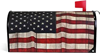 """WOOR American Flag Painted Wood Wall Background Magnetic Mailbox Cover MailWraps Garden Yard Home Decor for Outside Standard Size-18""""x 20.8"""""""