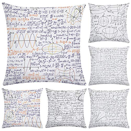 Hodeacc 6 fundas decorativas para cojín de fórmula matemática, fundas de almohada de franela para sofá, cama, silla, 45,7 x 45,7 cm, solo funda
