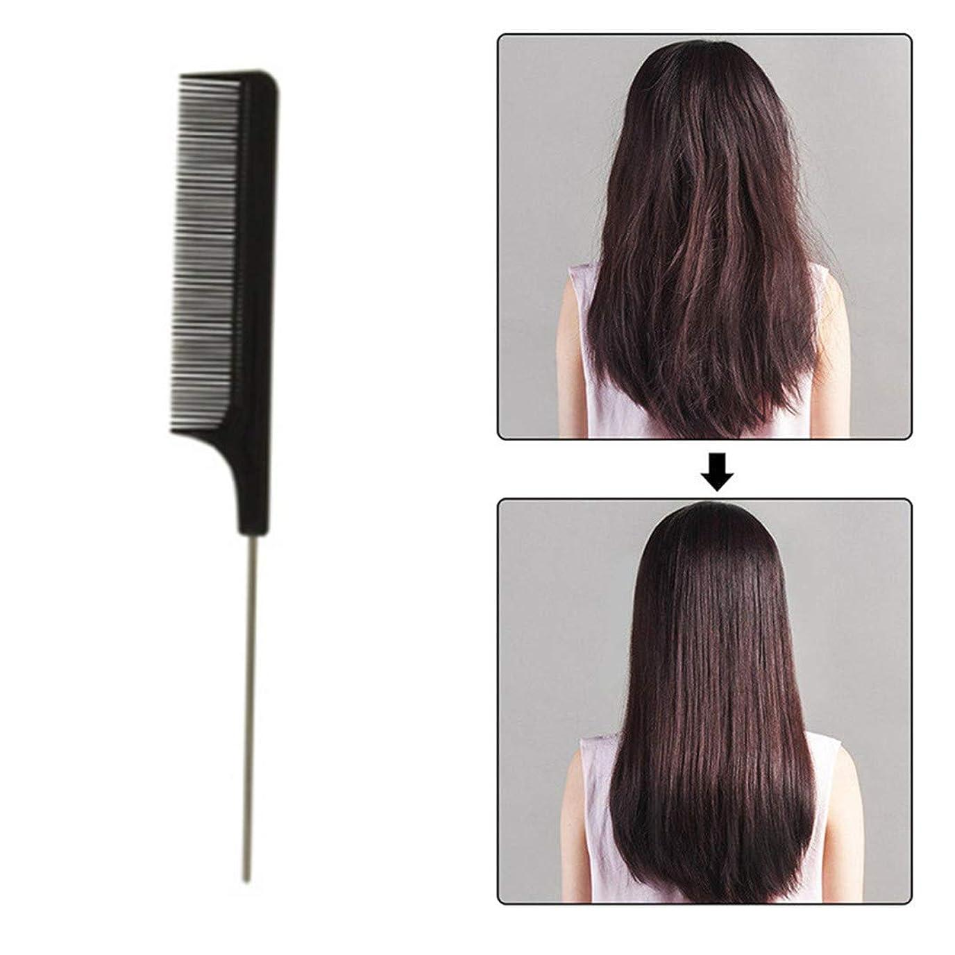 逆さまに表向き硬さUnderleaf 黒の細かい櫛の金属ピン帯電防止ヘアスタイルの櫛のヘアスタイリング美容ツール