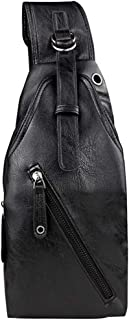Mens Bag New Men Chest Bag Leather Crossbody Shoulder Sling Bags Daypack For Business Casual Sport Hiking Travel Slim Zipper Vintage Leather Minimalist Anti-theft Bags High capacity