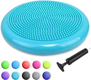 Trideer Inflated Stability Wobble Cushion with Pump(Multiple Colors), Extra Thick Flexible Seating Classroom,  Core Balance Disc,  Wiggle Seat for Sensory Kids (Office & Home & School)