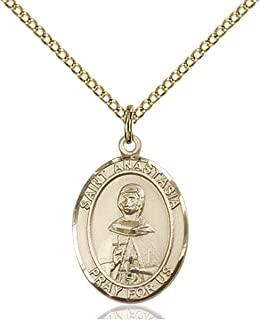 14KT Gold Filled Catholic Patron Saint Medal Pendant, 3/4 Inch