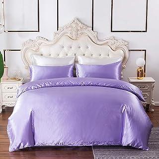 Violet Comforter Cover Queen Silk Like Satin Duvet Cover Set Summer Silky Bedding Soft Honeymoon Hotel Bedding Collection ...