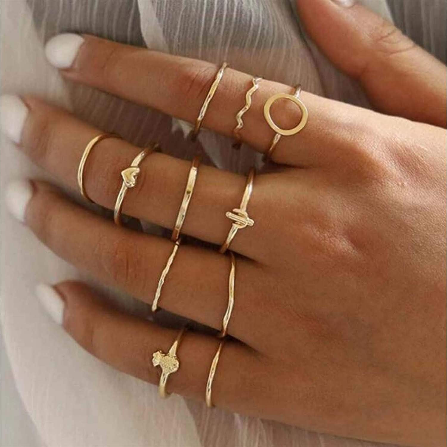 TseanYi Boho Knuckle Rings Set Gold Stacking Finger Rings Retro Half Open Midi Rings Hand Rings Accessories for Women and Teen Girls (Pattern 2)