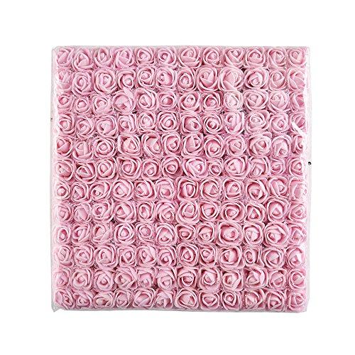 AZXU Mini-Schaumrose, künstliche Blumen, Blumenstrauß, Mehrfarbig, Rose, Hochzeit, Scrapbooking, Dekoration, Rose, Blumen, Fake 144 Stück, 2 cm Hellrosa