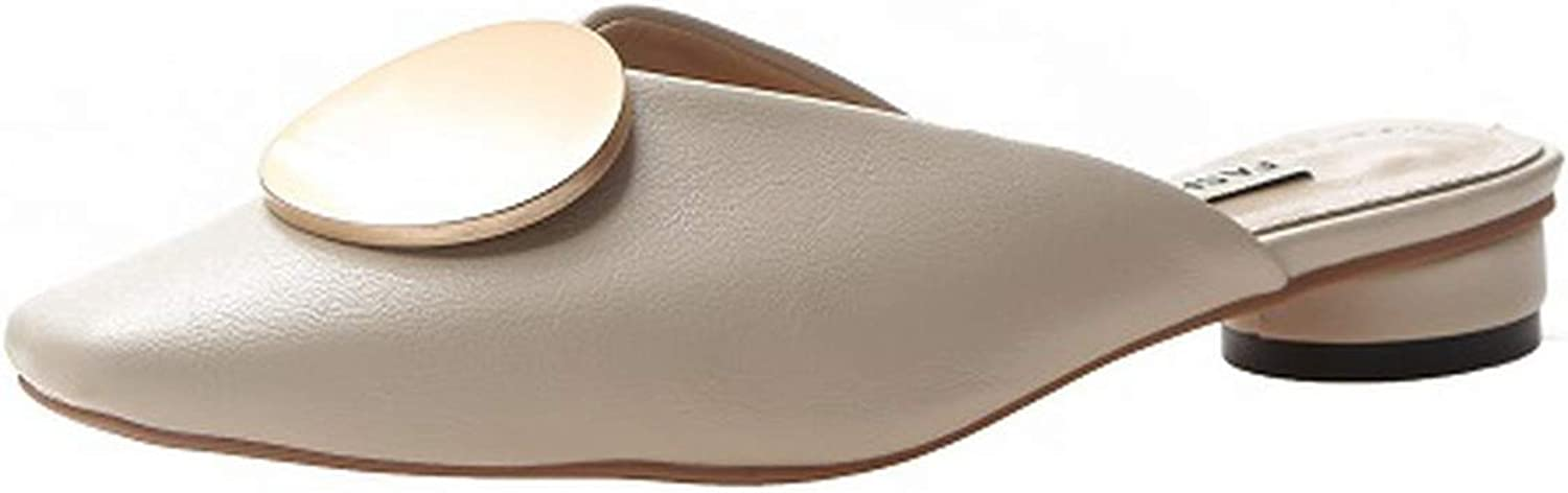 shoes Women Square Toe Apricot Beige Leather Ladies Slippers,
