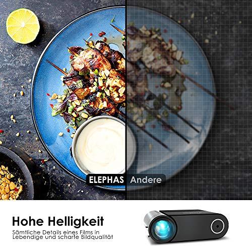 Mini Beamer ELEPHAS, Nativ 720P HD 4500 Lumen Projektor 200″ LED Projektor, für Film Unterhaltung Spiele, unterstützt HDMI VGA AV USB Micro SD, Schwarz. MEHRWEG - 4