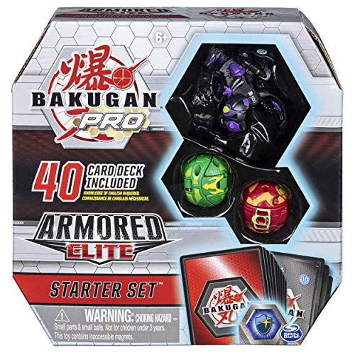 Bakugan Pro Armored Elite Starter Set with Darkus Dragonoid Ultra, Ventus Howlkor, Pyrus Trox, 40-Card Deck, and More