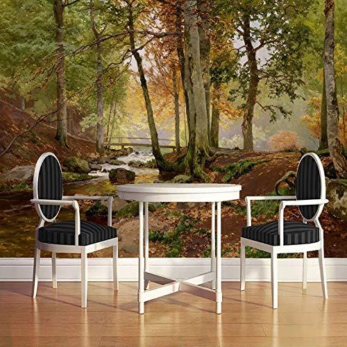 Mural de pared personalizado papel tapiz bosque paisaje pintado a mano pintura al óleo fondos de pantalla para sala de estar sofá dormitorio pared arte decoración del hogar