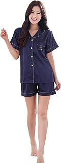 シルク パジャマ 半袖上下セット光沢があり心地よい肌さわり 寝間着サテンパジャマ 前開き 柔らか 静電気防止加工 パジャマ ルームウェア