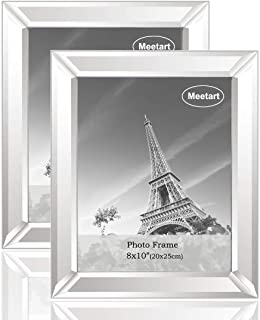 meetart Silver Mirror Photo Frame 8x10 inch 2 Piece Per Set for Wall Hang or Tabletop Display