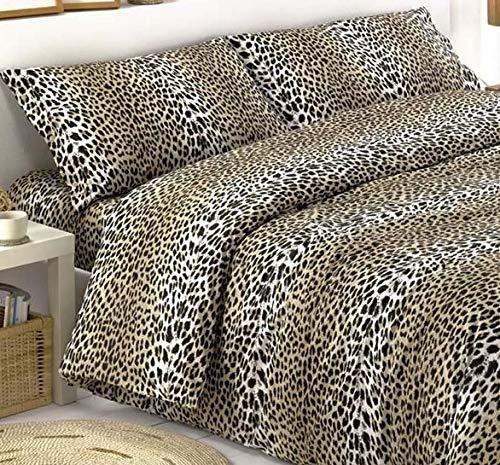 SpazioTessile Sacco Parure o Completo Copripiumino o Copritrapunta 100% Cotone Maculato Leopardo at (Sacco e Federa Piazza e Mezza)