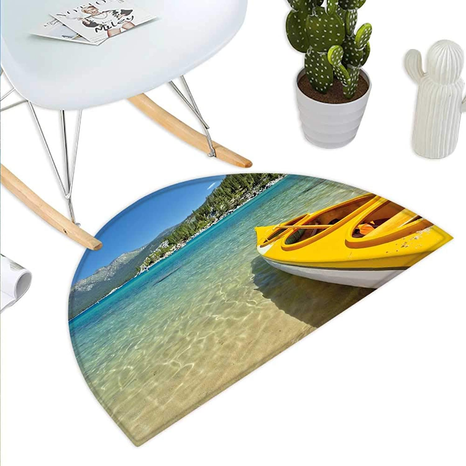 Lake Tahoe Semicircle Doormat Extreme Sports in Wild Lakeside Places Scenic Activities Halfmoon doormats H 43.3  xD 64.9  Turquoise Sky bluee Lime Green