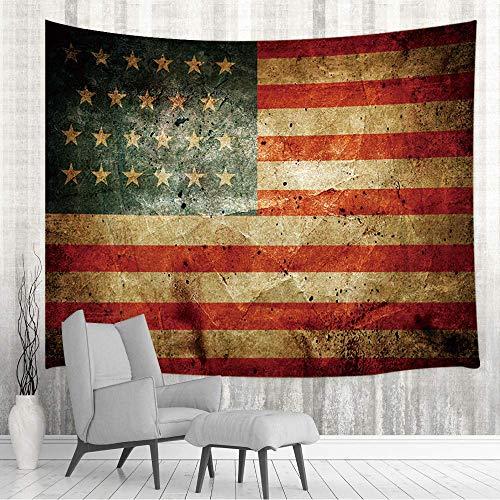 Tapestry Colgante de pared con bandera estadounidense en mal estado, bandera rústica de Estados Unidos con estrellas y rayas de Estados Unidos en la pared de tablones de madera retro 80X60inch