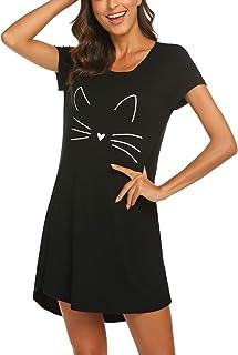 MAXMODA Chemise de Nuit Femme à Manches Courte Jersey Robe de Nuit Femme Imprimée XS-XXL
