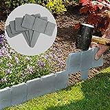 Energeti 20 UNIDS valla de piedra de imitación jardinería valla del piso valla de jardín plegable frontera jardín paisaje adoquín césped patio