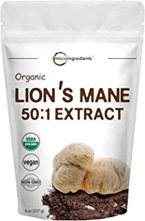 Sustainably US Grown, Organic Lions Mane Mushroom Powder (Lions Mane Supplements 50:1 Extract), 8 Ounce, Strongly Supports...