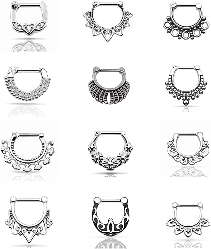 Qmcandy 12PCS 14G/16G Stainless Steel Septum Clicker Nose Rings Hoop Cartilage Bull Rings Body Piercing Jewelry