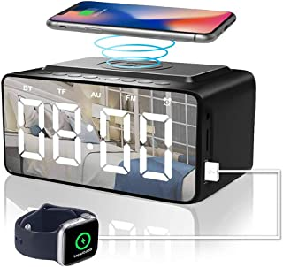 ANEAR Digital Alarm Clock with Radio Bluetooth Speaker,QI Wireless Charging Alarm Clock with USB Charger,Mains Powered LED...
