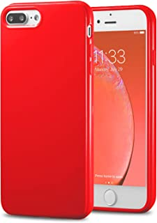 TENOC Phone Case Compatible for Apple iPhone 8 Plus & iPhone 7 Plus 5.5 Inch, Slim Fit Cases Soft TPU Bumper Protective Cover, Glossy Red