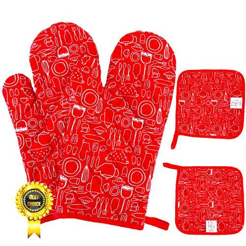 Sunshine smile ofenhandschuhe und topflappen Set,backhandschuhe,topfhandschuhe,ofenhandschuhe Baumwolle,backhandschuhe hitzebestaendig,kochhandschuhe,kaminhandschuhe ofenhandschuhe 4 Stück Set (Rot)