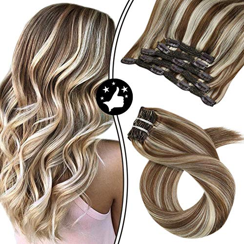 Moresoo Clip in Hair Extensions Human Hair 14 Pouces Extension a Clip Cheveux Naturel Blond #9A Marron avec #24 Blond Clair Straight Clip in Extensions Double Weft 5pcs/70g
