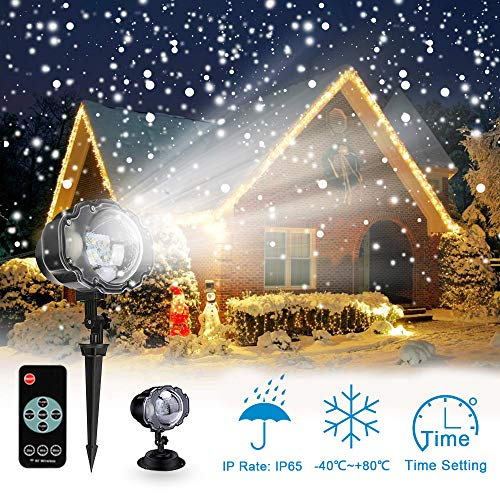 Proiettore Luci LED Natale, Proiettore Fiocchi di Neve Star Spotlight di Paesaggio Lampada LED con Impermeabile IP65 Due temperature di colore Wireless Telecomando Rotante Giardino LED Luce per Natale