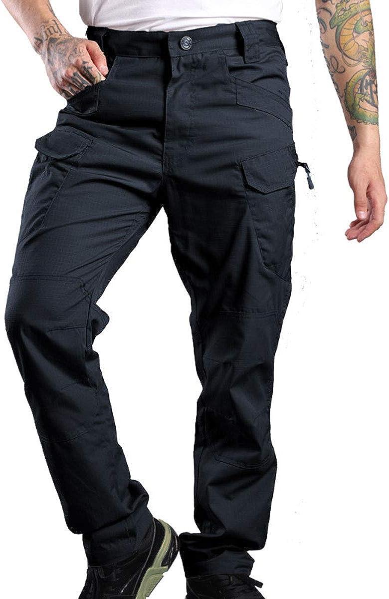 Astellarie Mens Water Proof Tactical Pants Slim Fit Multi-Pocket