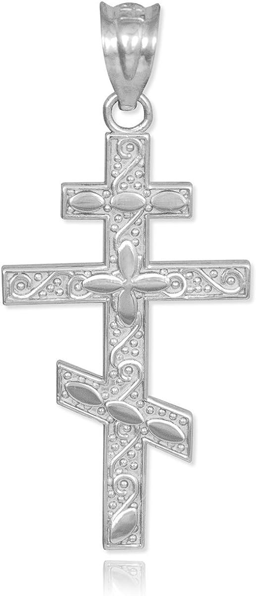 10k White Gold Russian Orthodox Cross Pendant