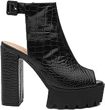 EUYZOU Women's Peep Toe Chunky Platform Sandals - Comfy Ankle Strap Slingback High Heeled Bootie Sandals