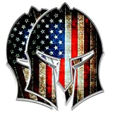 "Bigtime Spartan Helmet Decal | Gladiator - Distressed Grunge American Flag | Contour Cut Bubble - F R E E HP Laminated Adhesive Car Sticker Gun 2nd Amendment | Made in USA | 5' x 3.5"" 2 - Pack"
