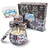 TRINIDa Scented Candles Gift Set, Aromatherapy Candle Set - Rose/Lavender/English Pear/Jasmine, Real Petal Essential Oil Natural Soy Wax, Portable Travel Tin Candles Gifts for Women, 4 Packs