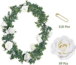 ANZOME Eucalyptus Garland with Flowers, Realistic Green Leaves | 6.4 ft Artificial Fake Vine Ivy Hanging Greenery for Wedding Backdrop, Arch Decor, Table Runner | Reusable Faux Plant Party Decoration