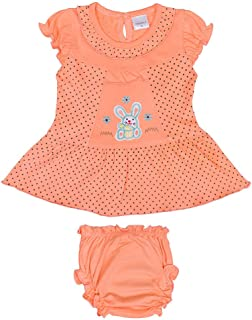 Hopscotch Baby Girls Cotton Short Sleeves Embroidery Polka Printed Dress with Bloomer in Orange Color