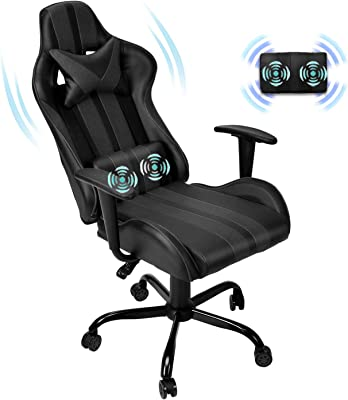Ferghana Massage PC Computer Chair,Gaming Chair,Video Game Chair, Ergonomic Office Chair, Racing Executive PU Leather Desk Chair with Lumbar Support Headrest Armrest Task Rolling Swivel Chair (Black)