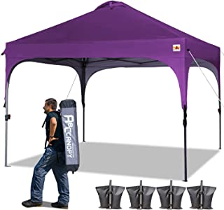 ABCCANOPY Canopy Tent 10x10 Pop Up Canopy Outdoor Canopies Super Comapct Canopy Portable Tent Popup Beach Canopy Shade Canopy Tent with Wheeled Carry Bag Bonus 4xWeight Bags,4xRopes&4xStakes, Purple