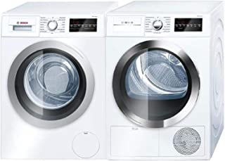 Bosch Front Load Laundry Pair in White with WAT28401UC Washer and WTG86402UC Electric Dryer