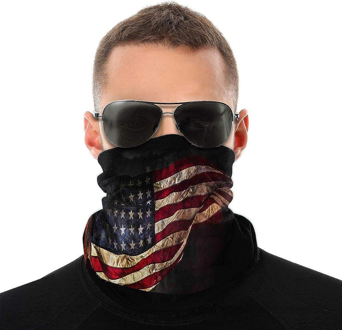 KiuLoam Flying American Flag Seamless Face Mask Bandanas Neck Gaiter for Men and Women, Multifunction Headband Scarf for Dust, Outdoors, Sports