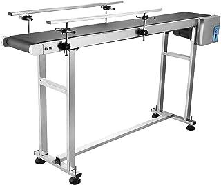 ZGYQGOO Belt Conveyor 1500MMx198MM Adjustable Conveyor Table 0-25M/Min Conveyor Belt Stainless Steel Motorized Anti-Static PVC Belt with Double Guardrail (Double Guardrail)