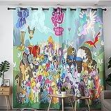 Cortinas decorativas My Little Pony All Poty, con aislamiento térmico, con ojales, para habitación de niños, 106,7 x 157,5 cm