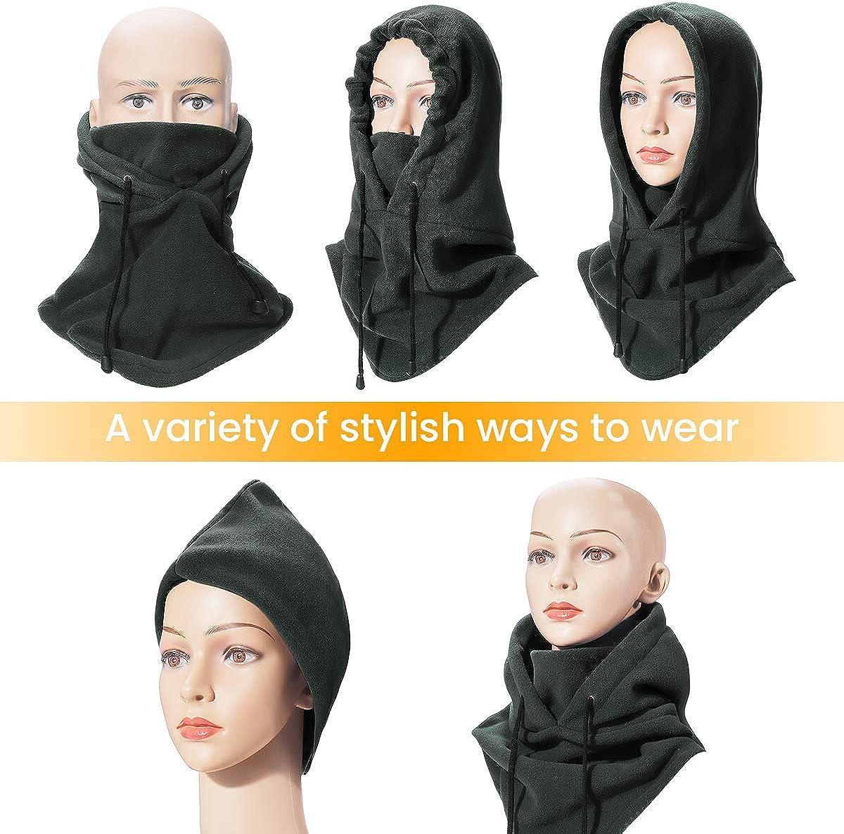 MOHOO Ski Mask Fleece Balaclava Adjustable Windproof Winter Half Face Mask Lengthened Warm Ski Balaclava for Men Women, Light Black