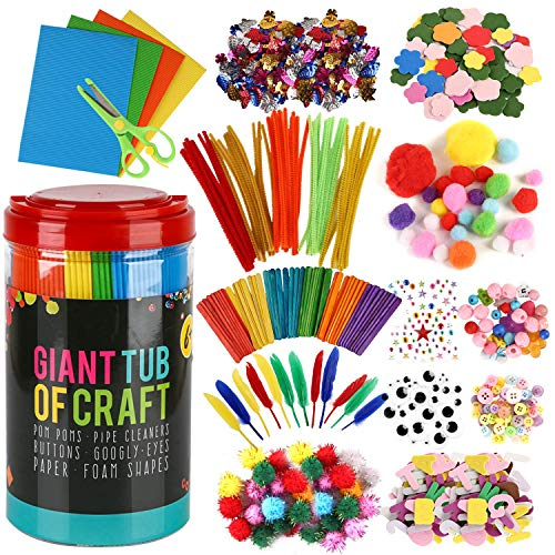Arts and Crafts Supplies for Kids Toddler Arts Craft Supply Kit for Toddlers Age 4 5 6 7 8 9 DIY Preschool Craft Supplies Kit Pipe Cleaners Pompoms Crafting Materials Birthday Gifts